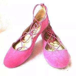 Sam Edelman Barbara Pink Suede Flats Lace Up